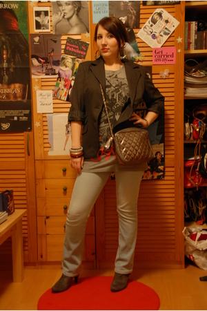 blue H&M jeans - gray Mango blazer - gray Mango t-shirt - gray Zara boots - silv