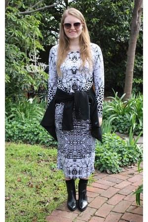 black Wittner boots - white Shakuhachi dress - black bardot jacket