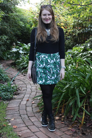 green French Connection skirt - black tony bianco boots - black Big W sweater