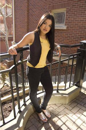 yellow Body Shop shirt - black Dont remember Vintage vest - Charlotte Russe pant