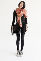 Charcoal-gray-leather-patch-leggings-orange-ethnic-print-scarf