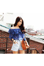 Blue Sheer Blouses Light Blue Denim Shorts