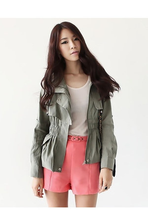 dark khaki safari style jacket - salmon belted shorts