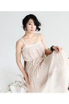 Navy Linen Jackets Light Pink Long Pleated Dresses