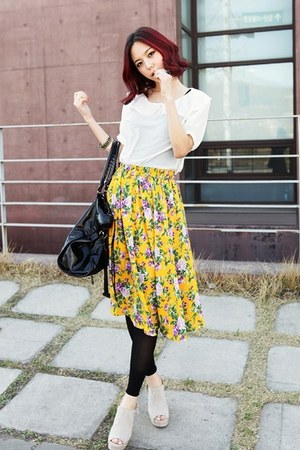white blouse - yellow floral skirt
