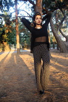 black net cropped Wet Seal blouse - black gypsy DIY pants