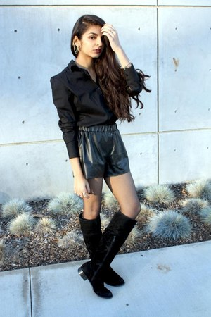 knee high TJ Maxx boots - Macys shorts - Forever 21 blouse