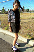 flatforms Tobi shoes - lbd H&M dress - threadsence cardigan