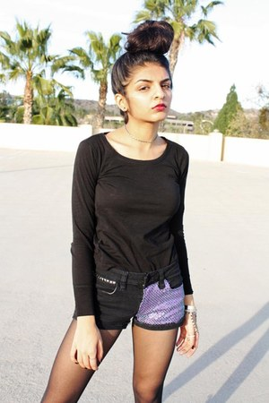 sequined DIY shorts - solid ann taylor t-shirt