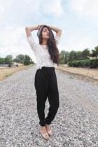 lace H&M top - ivory baggy pants TJ Maxx pants