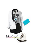 white Forever 21 boots - white Nelly blazer - sky blue Nordstrom purse