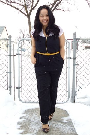 black jumpsuit H&amp;M suit - white Bershka top - yellow joe fresh style belt