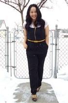 black jumpsuit H&M suit - white Bershka top - yellow joe fresh style belt