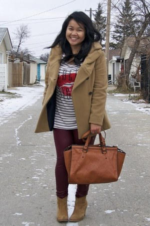light brown Zara coat - bronze asos boots - brick red Forever 21 leggings