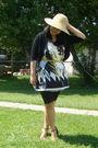 Beige-walmart-hat-white-maldita-dress-black-sirens-leggings-gold-divi-shoe