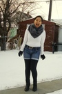 Gray-american-apparel-scarf-white-joe-fresh-style-top-blue-old-navy-shorts-