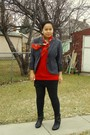 Black-dynamite-blazer-red-value-village-scarf-red-mariposa-top-black-garag