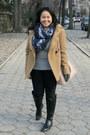 Black-zara-boots-camel-zara-coat-heather-gray-club-monaco-sweater
