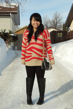 black Zara boots - black H&M hat - carrot orange Club Monaco sweater