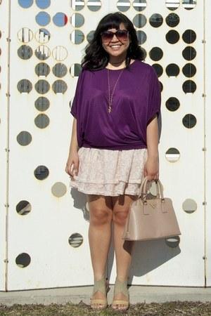 light pink Prada bag - dark brown Forever 21 sunglasses - purple The Ramp top