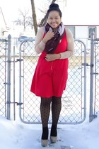 nude Uniqlo top - red lola dress - black joe fresh style tights