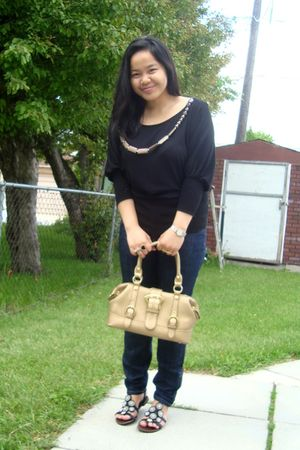 black Sirens top - blue Forever 21 jeans - gold Celine purse - black Wet Seal sh