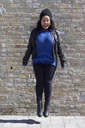 black sam edelman boots - black Only jacket - blue H&M sweater - navy Zara pants