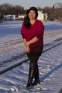 Black-zara-boots-black-forever-21-hat-ruby-red-h-m-sweater