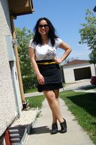 white Forever 21 dress - black Divi skirt - yellow joe fresh style belt - black