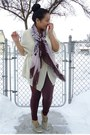 Maroon-forever-21-leggings-brown-urban-scarf-cream-brandy-melville-cardigan