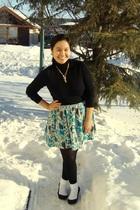 black joe fresh style top - green Kismet skirt - black payless tights - white SM
