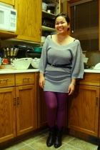 silver H&M top - purple Ardene tights - black Suzy Shier belt - black Sirens boo