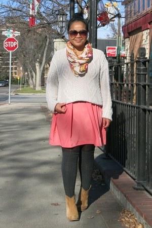 eggshell vintage sweater - bronze asos boots - orange Forever 21 scarf