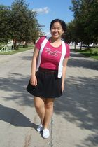 pink hollister t-shirt - white Sirens vest - black Greenhills skirt - brown Jaco