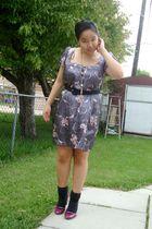 gray Urban Behaviour dress - black Voom belt - black Ardene socks - purple payle