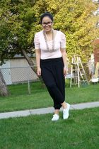black chains Divi necklace - white sneakers Keds shoes - black harem Divi pants