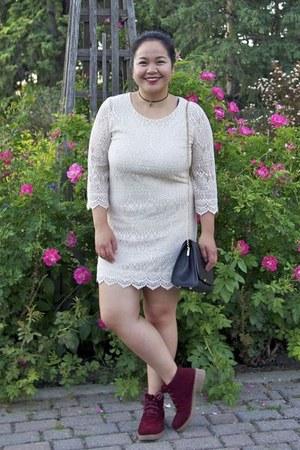 black Pandora necklace - crimson Newchic boots - off white H&M dress