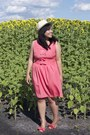 Salmon-rue-21-dress-ivory-forever-21-hat-salmon-chinese-laundry-sandals