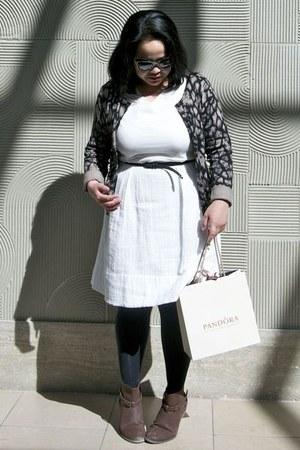 black Walmart tights - dark brown DSW boots - white Gap dress
