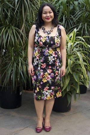 black Shelmerdine dress - magenta Payless heels