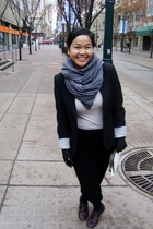 black Suzy Shier blazer - gray joe fresh style top - black Divi pants - brown Go