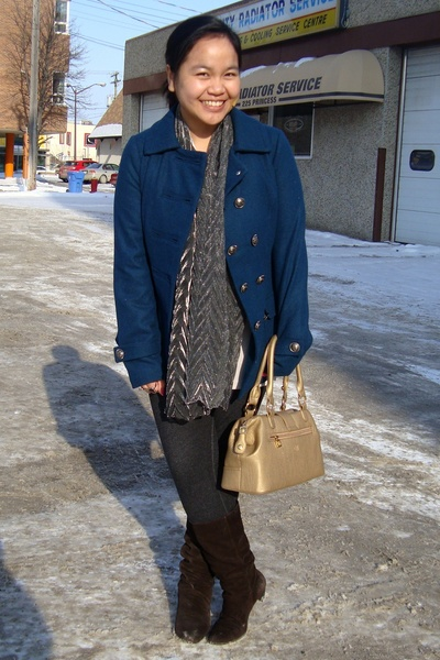 blue Forever 21 coat - silver scarf - gray joe fresh style top - black garage le