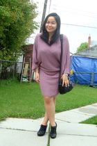 purple H&M dress - black Aldo shoes - black Forever 21 purse - purple Forever 21