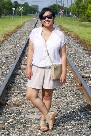 beige Celine bag - neutral urban behavior shorts - black Forever 21 sunglasses