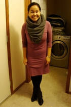 purple Old Navy dress - black Dynamite leggings - gray American Apparel scarf -