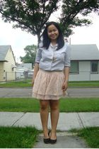 gray joe fresh style shirt - beige H&M skirt - black Celine shoes - gold Wetseal