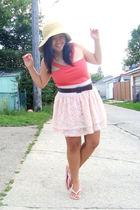 beige Walmart hat - orange clothes swap top - beige H&M skirt - brown Jacob belt