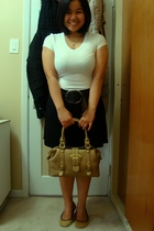 Suzy Shier shirt - Old Navy belt - skirt - Celine purse - shoebox shoes