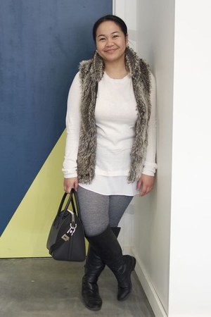 black Zara boots - heather gray Urban Outfitters leggings - black Givenchy bag