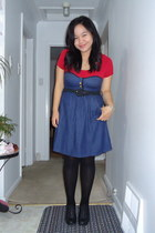 blue voom by joy hann dress - black oxford wedge shoes - black Payless tights